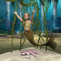 Little mermaid d digital render of a cute on blue fantasy ocean background Royalty Free Stock Photo