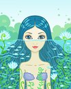 Little mermaid vector illustration the looks out of water Royalty Free Stock Images