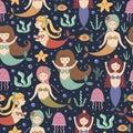 Little mermaids seamless pattern