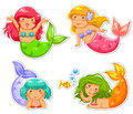 Little mermaids set of cartoon mermaid Stock Photography