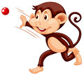 Little monkey throwing red ball Royalty Free Stock Photo
