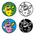Little monsters a set of symbols a cute fire breathing monster Stock Image