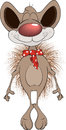Little mouse cartoon cheerful hairy with a red scarf Royalty Free Stock Images