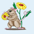 Little mouse holds a flower