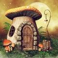 Little mushroom house with a lantern