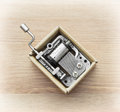 Little music box on a wooden background Stock Images