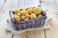 Little new potatoes in a small basket Royalty Free Stock Photos