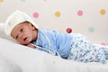 Little newborn baby boy in white cap Royalty Free Stock Photo