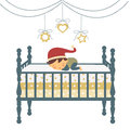 Little newborn boy in Santa`s hat sleeping Royalty Free Stock Images