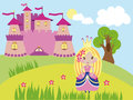 Little nice princess walking near the castle vector graphic image with girl summer day outside pink fairy tale Royalty Free Stock Photography