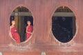 Little novice shwe yan pyay monastery nyaung shwe in myanm couple of at window myanmar burmar Stock Image