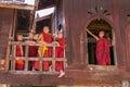 Little novice shwe yan pyay monastery nyaung shwe in myanm group of myanmar burmar Royalty Free Stock Images