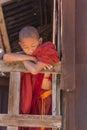 Little novice shwe yan pyay monastery nyaung shwe in myanm sleeping myanmar burmar Royalty Free Stock Photography