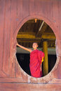 Little novice shwe yan pyay monastery nyaung shwe in myanm smile myanmar burmar Stock Images