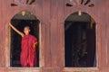 Little novice shwe yan pyay monastery nyaung shwe in myanm smiling myanmar burmar Royalty Free Stock Images