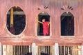 Little novice shwe yan pyay monastery nyaung shwe in myanm at window myanmar burmar Royalty Free Stock Photography