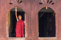 Little novice shwe yan pyay monastery nyaung shwe in myanm at window myanmar burmar Stock Photo