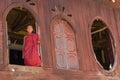 Little novice shwe yan pyay monastery nyaung shwe in myanm at window myanmar burmar Royalty Free Stock Images