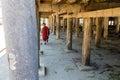 Little novice under temple shwe yan pyay monastery nyaung sh is walking monastry in myanmar burmar Royalty Free Stock Photography