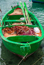 Little old fishing boats typical colorful in the south of italy apulia region Royalty Free Stock Image