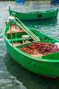 Little old fishing boats typical colorful in the south of italy apulia region Royalty Free Stock Photos