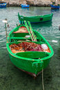 Little old fishing boats typical colorful in the south of italy apulia region Stock Images