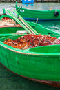 Little old fishing boats typical colorful in the south of italy apulia region Royalty Free Stock Photography