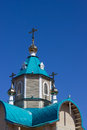 Little orthodox church vertical on a bright day Stock Photos