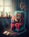 Little owl drinking coffee