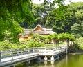 A little pagoda in green, japanese garden, Tokyo Royalty Free Stock Photo
