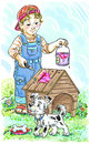 Little painter boy with the paint roller and a bucket of paint paints the doghouse Stock Photos