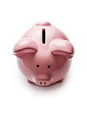 Little pink piggy bank on white Royalty Free Stock Photo