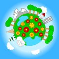 Little planet vector illustration of a with various landscapes and sky Royalty Free Stock Photo