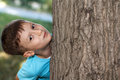Little preschooler boy hide and seek at tree Stock Image