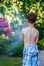 Little preschooler boy irrigate in garden summer Stock Photo