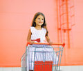 Little pretty girl in dress in shopping cart Royalty Free Stock Photo