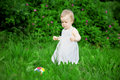 image photo : Little pretty girl on a green lawn