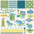 Little prince boy set scrapbook design elements in Stock Photos