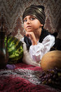 Little prince eastern fairytale portrait closeup Royalty Free Stock Photography