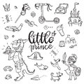 Little prince funny graphic set. Boy in armor and cloak, sword,