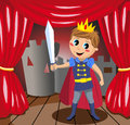 Little prince holding sword on stage illustration featuring a charming with red cloak a playing at theater or theatre eps file Stock Photos
