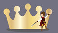 A little prince knight young looking makes fencing with his sword and his cloak in the background large golden crown as card Stock Image