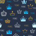 Little prince seamless pattern with watercolor and glittering crowns.