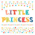 Little princess cute greeting card for little girl vector illustration Royalty Free Stock Photo