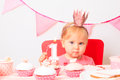 Little princess at first birthday party Royalty Free Stock Photo