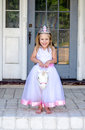 Little princess riding a unicorn Royalty Free Stock Photo