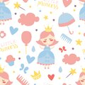 Little Princess Seamless Pattern, Baby Girl Shower, Birthday Party or Nursery Decoration Background, Wallpaper, Textile Royalty Free Stock Photo