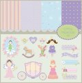 Little princess set baby backgrounds scrapbooking collection Stock Photography