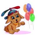 Little puppy in a cap