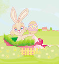 Little rabbit in gift box easter surprise present illustration Royalty Free Stock Photography